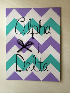 Chevron Alpha Xi Delta bow canvas