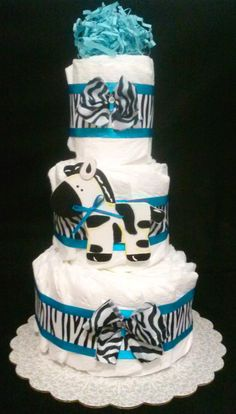 Zebra Diaper Cake Three tier for Baby Boy and Baby girl by Little KG's Dreams
