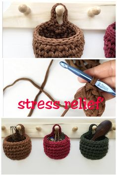 stress relief' and 'stress quotes. Crochet Basket Pattern, Easy Crochet Patterns, Crochet Motif, Knit Crochet, Crochet Home, Crochet Crafts, Crochet Projects, Basic Crochet Stitches, Crochet Basics