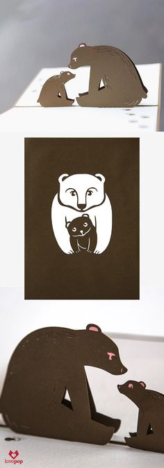 Tell your mom you love her with this adorable bear cub and it's mama in this 3D pop up Mother's Card . #HappyMomsDay