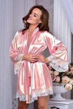 b602593599 Lace peignoir set Bridal lingerie wedding night Satin nightgown and kimono  lace robe Wedding night lingerie Bridesmaid robe Bridal nightgown