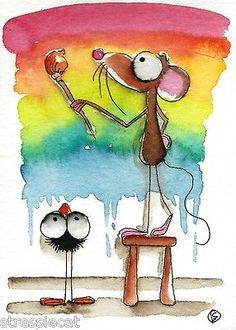 ACEO Original Watercolor Folk Art Illustration Mouse Crow Painting A Rainbow | eBay