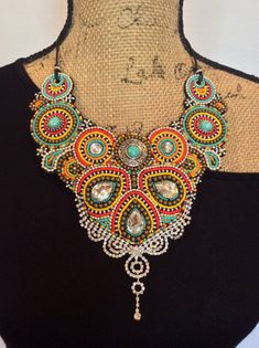 Bead Embroidery Bib Necklace Statement Necklace by perlinibella