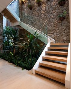 25 perfect indoor garden design ideas for fresh house 8 Office Plants, Garden Office, House Stairs, Wood Stairs, Basement Stairs, Glass Stairs, Garden Stairs, Stone Stairs, Brick Garden