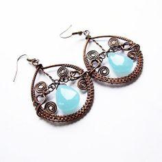 winter earrings  wire wrapped bohemian bold blue by KicaBijoux, $40.00