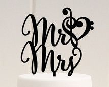 Mr and Mrs Wedding Cake Topper with Music Note Heart - Treble and Bass Clef Heart Custom Cake Topper