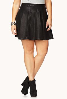 I like this and want one but i need it to come to my knees. Spotlight Faux Leather Skater Skirt  www.forever21