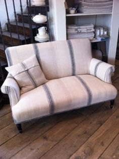 Grain sack covered settee