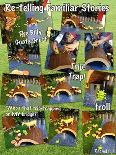 The Billy Goat's Gruff Small World Retelling (from Stimulating Learning With Rachel) Traditional Tales, Traditional Stories, Language Activities, Book Activities, Toddler Activities, Fairy Tale Theme, Fairy Tales, Billy Goats Gruff Story, Troll