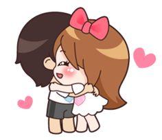 Cute Couple Cartoon, Cute Cartoon Pictures, Cute Couple Quotes, Cute Love Pictures, Cute Love Couple, Cute Miss You, I Love You Girl, Chibi Couple, Chibi Cat