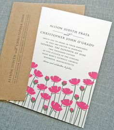 Alison Pink Flower Wedding Invitation Sample by CricketPrinting