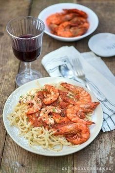 Hand rolled pasta with prawns in tomato fennel sauce