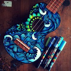 Made to order hand painted ukulele. This listing is for a hand painted ukulele with a waves & mandala design on the front. Each one will be totally unique and one of a kind piece created on order. Due to a large increase in orders Please allow 3-5 weeks for completion (not including shipping) (Please send me a convo or note if you have any color preferences or would like a message written in the artwork)