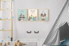 Woodlands Nursery, Adventure Awaits, Print Set, Forest Animal Set, Nursery Art, Forest Friends, Nursery Forest Decor, Deer Racoon, Mountains. ❥ ❥ ❥ ❥ ❥ Opening SALE - Enjoy 30% Off ALL ITEMS!!! Enter Coupon Code TAKE30OPEN at Checkout. ❥ ❥ ❥ ❥ ❥ ❥ This beautiful and genuine handmade Woodlands Set features 2 cute Forest Friends, Deer and Racoon, and a beautiful Mountains view, in Ivory, Grey, Mint, Brown and Faux Gold textures, with Inspirational quotes: Racoon: Stay Curious Deer: Be Kind…