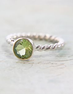 Spring Green Peridot Solitaire Ring - EcoFriendly Argentium Silver  LOVE!!!!