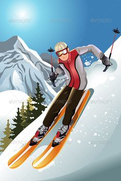 Buy Skier in the Mountain by artisticco on GraphicRiver. A vector illustration of a skier skiing in the mountain. Vector illustration, zip archive contain eps 10 and high res. Mountain Mural, Mountain Illustration, Favorite Christmas Songs, Ski Posters, Drawing Exercises, Mini Canvas Art, Winter Scenery, Vintage Ski, Adult Cartoons