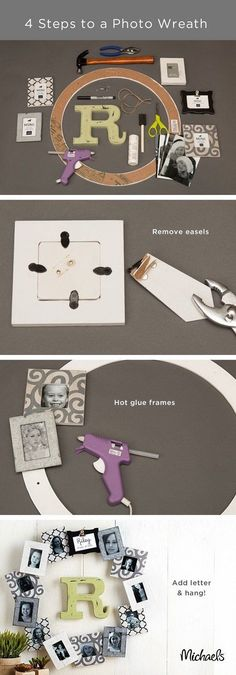 Personalized Photo Frame Wreath. Photo craft is a timeless tradition for DIY home decor! Considering making this personalized photo frame wreath with the following instructions.