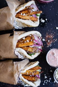 Greek Style Roasted Lamb Gyros with Harissa Spiced Tzatziki