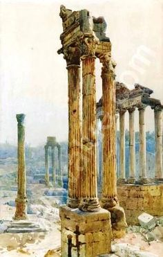Rome, the Forum, watercolor by Ettore Roesler Franz-1845-1907