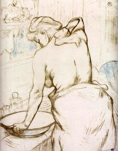 Toulouse-Lautrec - Elles-Woman at Her Toilette, Washing Herself: 1896