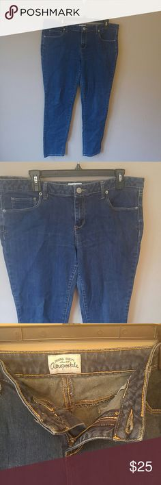 Aeropostale size 17/18 regular normal length jeans 🍁Inseam measures 28in 🍁 waist measures 18 1/2in 🍁 length from waist to ankle measures 37 in 🎅 Aeropostale jeans 17/18 length regular / normal. Dark denim no holes no stains ready for your fall and winter wardrobe these are skinny style jeans that are tight at the ankle only worn a few times ready for your wardrobe 🌲 I love realistic offers make a bundle I'll give you a private offer I carry sizes 4-5X! All clothing owned by me daughter…