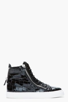 new concept ea997 b6d62 Giuseppe Zanotti Black Patent Leather Croc-embossed London Sneakers for men    SSENSE Nike Slippers