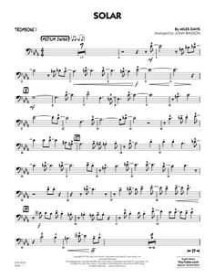 John Wasson Solar (arr. John Wasson) - Trombone 1 sheet music arranged for Jazz Ensemble and includes 3 page(s). The style of the score is Jazz. Catalog SKU number of the notation is 446357. The arrangement code for the composition is JZBAND. Minimum required purchase quantity for these notes is 1.* Please check if transposition is possible before your complete your purchase. Digital download printable PDF. $5.99