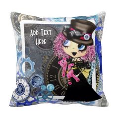 Steampunk girl cartoon personalized pillow #steampunk #girlgifts