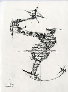 Syd Mead's works has inspired me really a lot, here are more practices using his style to explore space stations, and vehicles. Space Engineers, Space Drawings, Ship Drawing, Sketch Inspiration, Construction Design, Space Station, Compass Tattoo, Drawing Reference, Illustration Art