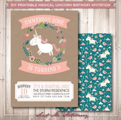 Printable Magical Unicorn Birthday Invitation by SendMeStationery