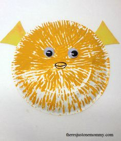 Paper plate pufferfish craft from Theres Just One Mommy