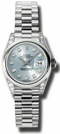 179166-BLR  ROLEX DATEJUST OYSTER PERPETUAL LADIES WATCH    Usually ships within 4 weeks - FREE Overnight Shipping- NO SALES TAX (Outside California) - WITH MANUFACTURER SERIAL NUMBERS- Blue Dial with Diamonds - Diamonds Set on Case   - Self Winding Automatic Movement- 3 Year Warranty- Guaranteed Authentic - Certificate of Authenticity- Polished with Brushed Platinum Case with President Bracelet- Scratch Resistant Sapphire Crystal- Manufacturer Box
