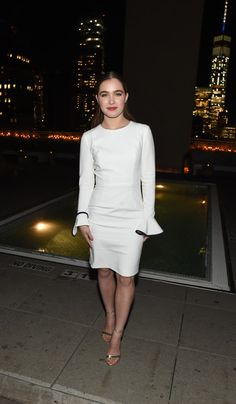 """Actress Haley Lu Richardson wears Black Halo to the screening of Sony Pictures Classics """"The Bronze"""" hosted by Cinema Society & SELF Gold Dress, Peplum Dress, Gold High Heel Sandals, Haley Lu Richardson, Church Fashion, White Trousers, Little White Dresses, Powerful Women, Wearing Black"""