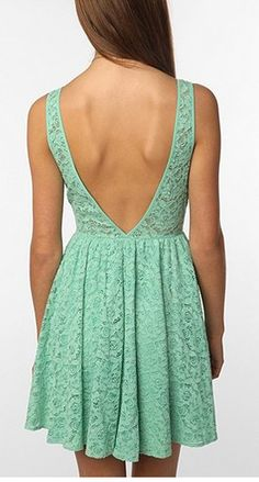 pins & needles backless lace dress from Urban Outfitters. Saved to My Closet. Shop more products from Urban Outfitters on Wanelo. Fashion Moda, Look Fashion, Dress Fashion, Spring Fashion, Fashion Design, Vestidos Color Menta, Mint Dress Lace, Green Dress, Pretty Outfits