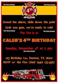 $10.00 Fire Truck Birthday Invitation