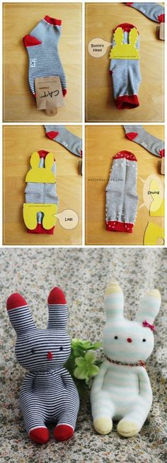Sock Doll Easter Bunny Free Instruction - Sock Doll Easter Bunny Free Instruction - Make an Upcycled Sock Snowman Sock Animals Lots of Fabulous Free Patterns Sock Crafts, Fabric Crafts, Diy Crafts, Creative Crafts, Diy Sock Toys, Sewing Toys, Sewing Crafts, Free Sewing, Doll Patterns