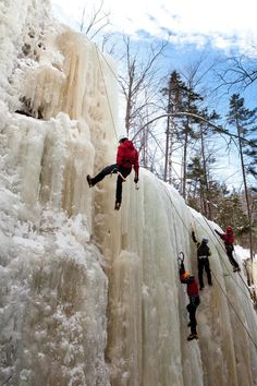 Climbers top-rope at Champney Falls, a popular practice area off the idyllic Kancamagus Highway.