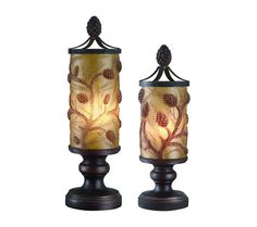 Autumn's Light Accent Lamp Set with Amber Pine Shades - Elegant cylindrical pine cone and pine needle accent lighting set in amber with a bronze finish on beautiful platform bases. Crowned with a bronze pine cone to bring an graceful yet rustic feel to any room.