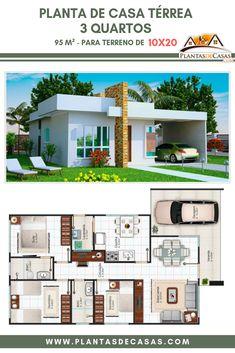60 Fachadas de Casas Pequenas e Simples Para Você se Inspirar - My House Plans, Bungalow House Plans, Bedroom House Plans, Modern House Plans, Small House Plans, House Floor Plans, Minimalist House Design, Small House Design, Modern House Design