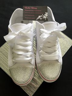 Wedding bridal customised trainers converse style crystal