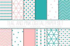 Modern Digital Paper, Teal and Pink, Geometric Patterns, Digital Background, Scrapbook Paper, Stars, Triangles, Card Design, Web Design