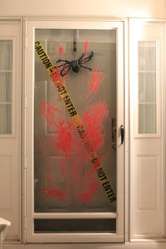 make a fun festive halloween door decoration in just minutes using only caution tape and washable - Cool Halloween Door Decoration Ideas