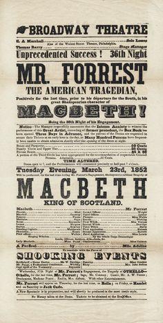 Broadway Theatre Playbill April 8, 1852