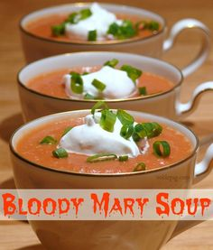 Bloody Mary Soup topped w/ Horseradish Cream Fun Easy Recipes, Fall Recipes, Soup Recipes, Easy Meals, Cooking Recipes, Cheese Recipes, Popular Recipes, Lunch Recipes, Drink Recipes