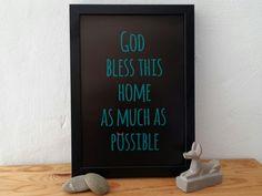 Poster God bless this home von BatonRougeArts auf Etsy original artwork, wall art, linoprints, linocut, monotype, monoprint, wall decor, print, poster, typo, digital print, printmaker, abstract art, modern abstract, contemporary art, black, goth, god, fun
