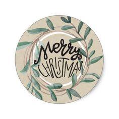 Merry Christmas Rustic Kraft Botanical Leaf Wreath Classic Round Sticker - birthday gifts party celebration custom gift ideas diy