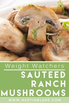 Weight Watchers Sauteed Ranch Mushrooms Recipe. A quick and easy 35 minute side dish recipe with only 3 ingredients. Made with fresh mushrooms, butter, and dry ranch salad dressing mix. This recipe calls for a lot of butter, but I have cut the butter by half and it was plenty, so if you want to reduce the amount of points, I suggest trying it with less butter. Low carb. MyWW Points: 7 Blue Plan and 8 Green Plan, 7 WW Freestyle Points and 8 Smart Points. Weight Watchers Sides, Weight Watchers Meals, Side Dish Recipes, New Recipes, Healthy Recipes, Food Dishes, Side Dishes, Weight Watchers Vegetarian, Mushroom Recipes