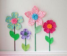 fabric flower wall decor.  garden themed decals for girls room.  purple fabric flower. 3d fabric flower. spring garden. via Etsy
