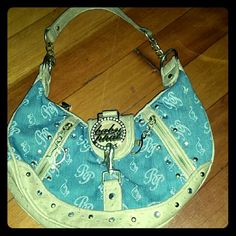 **1 day sale** Baby Phat Purse 50% off!!!!!  Blue Jean material, missing a gem on circle. Baby Phat Bags