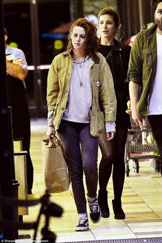 Quiet evening out: Kristen Stewart went out to dinner with friends at La Poubelle in Hollywood before hitting up Gelson's supermarket for some groceries on Thursday